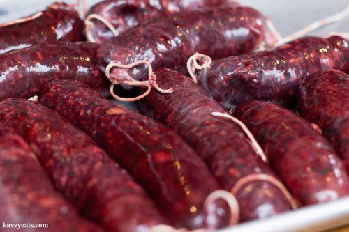 Making morcilla (blood sausages)
