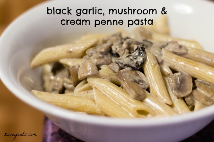 Black Garlic Mushroom and Cream Penne Pasta KaveyEats (c)KavitaFavelle textoverlay
