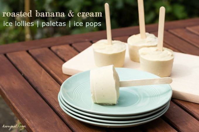 Roasted Banana Ice Lollies aka Paletas Ice Pops Popsicles - Kavey Eats © Kavita Favelle -overlay 3