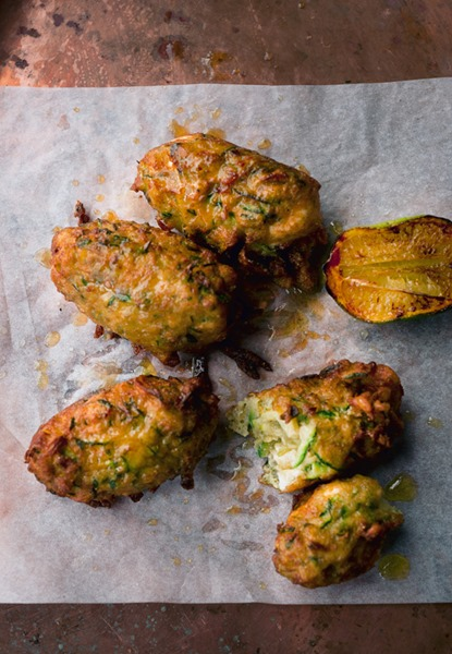 NOPI Courgette and Manouri Fritters