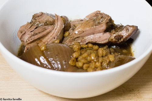 Leg of Lamb and Pearl Barley Braised in Red Wine and Balsamic Vinegar on Kavey Eats-8522