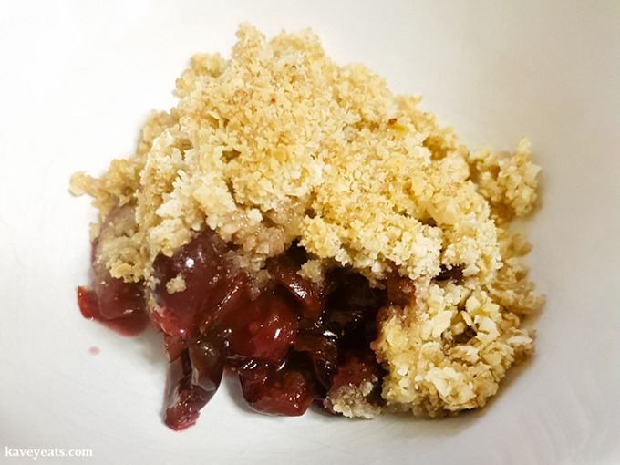 20160606_191356 - Sweet Cherry Crumble Recipe on Kavey Eats - 5