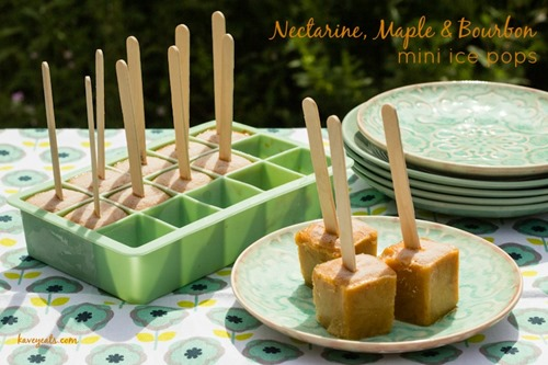 Nectarine Maple & Bourbon Mini Ice Pops on Kavey Eats (Landscape Text Over)
