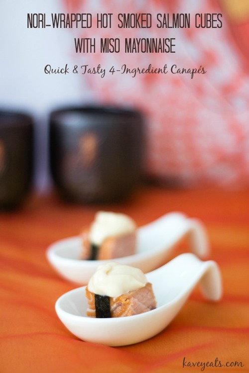 Nori-Wrapped Hot Smoked Salmon Cubes With Miso Mayonnaise on Kavey Eats (Titled1)