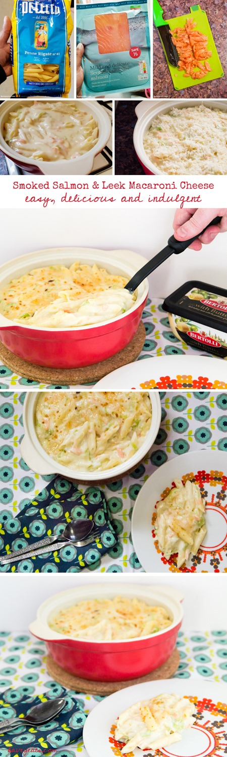 Smoked Salmon and Leek Macaroni Cheese on Kavey Eats (Tall Pin)