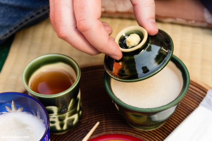 Amazake and warabi mochi