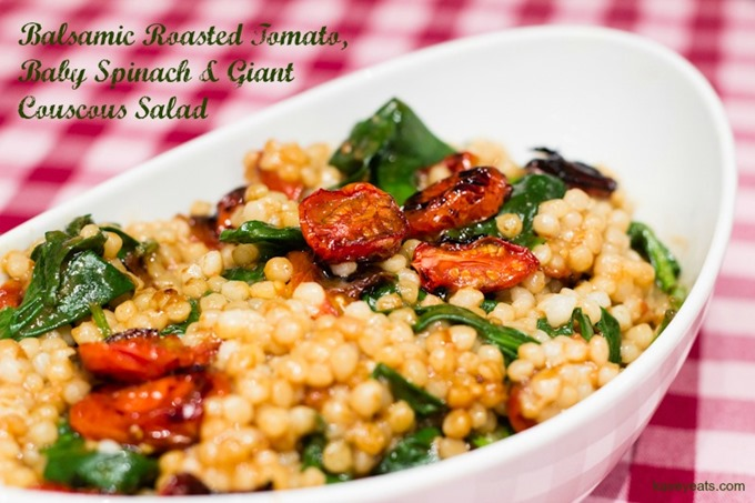 Balsamic Tomato Spinach Giant Couscous Salad on Kavey Eats (c) Kavita Favelle (A)