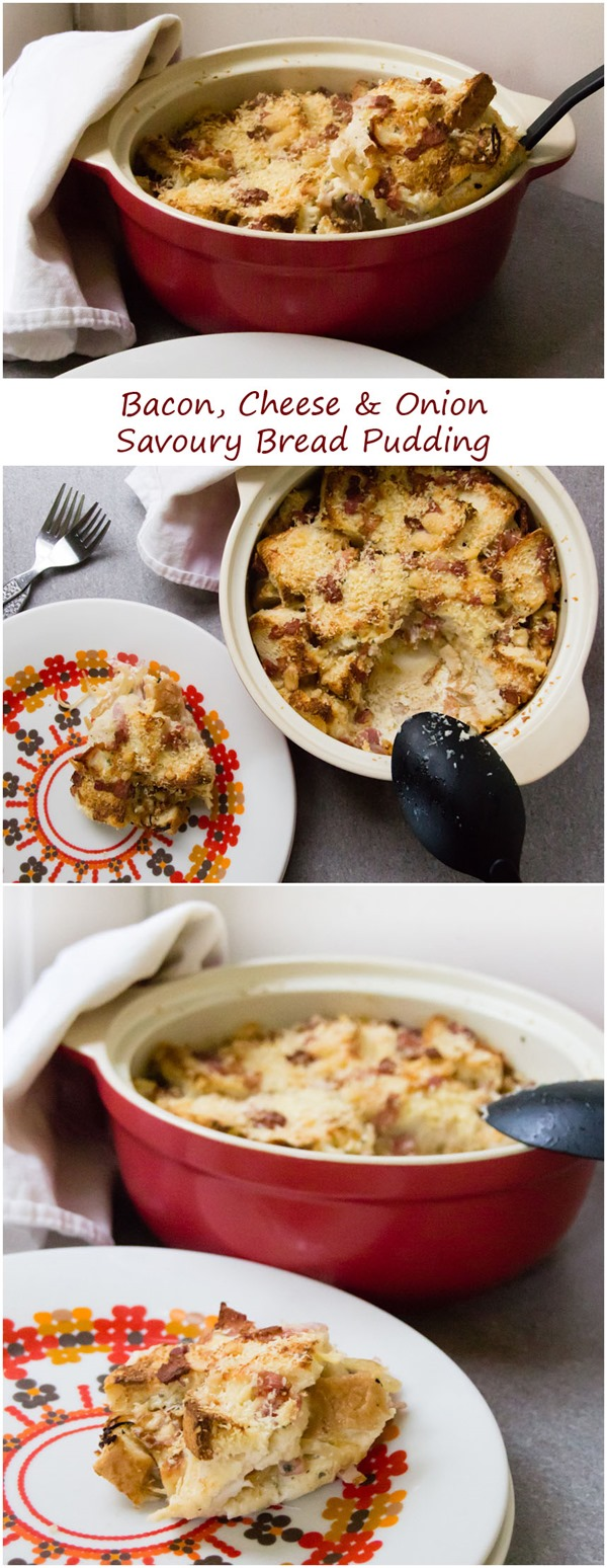Bacon Cheese Onion Bread Pudding by Kavey Eats (tall)