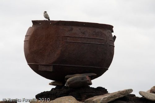 A trypot cauldron used to render penguins, Falkland Islands