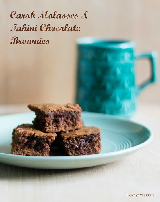 Carob Molasses and Tahini Chocolate Brownies - Kavey Eats - (c) Kavita Favelle-text