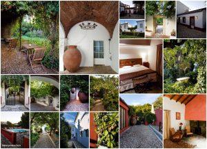 Interior and exterior images of Casa do Terreiro do Poço hotel in Borba, in Portugal's Alentejo region