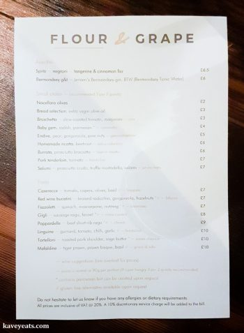 The menu at Flour and Grape Pasta Restaurant in Bermondsey, London