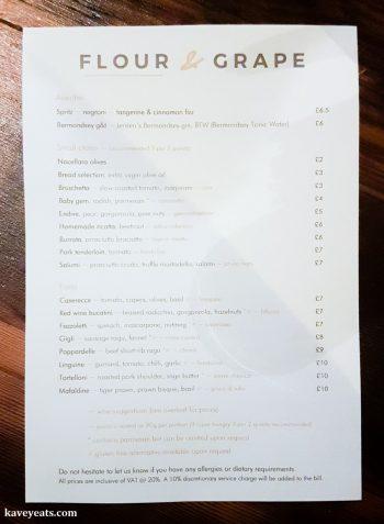 The menu at Flour and Grape Pasta Restaurant in Bermondsey, London