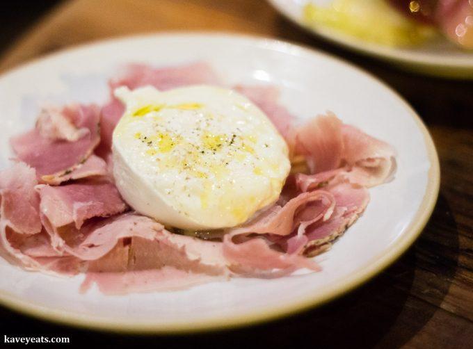 Buratta and ham at Flour and Grape Pasta Restaurant in Bermondsey, London