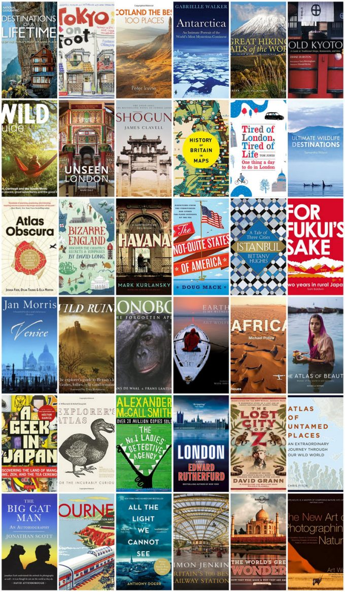 Collage of book covers featured in 100+ Books for Globetrotters, Dreamers & Armchair Travellers