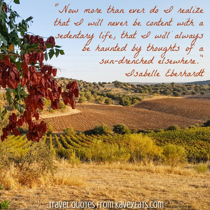 Alentejo vineyard view in autumn, with quote overlay from Isabelle Eberhardt