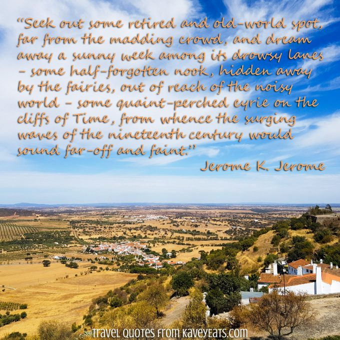 View down from Monsaraz hilltop village in Portugal's Alentejo region with quoted text overlay