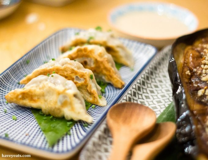 Wagyu Gyoza and Miso Aubergine at Machiya Japanese Restaurant in London, a review on Kavey Eats