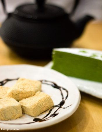 Warabi Mochi and Matcha Crepe Cake at Machiya Japanese Restaurant in London, a review on Kavey Eats