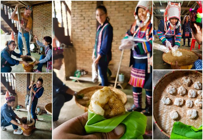 Making Akha pounded rice cake during a two day visit to the Akha Hill Tribe of Thailand's Doi Pha Mee, on Kavey Eats