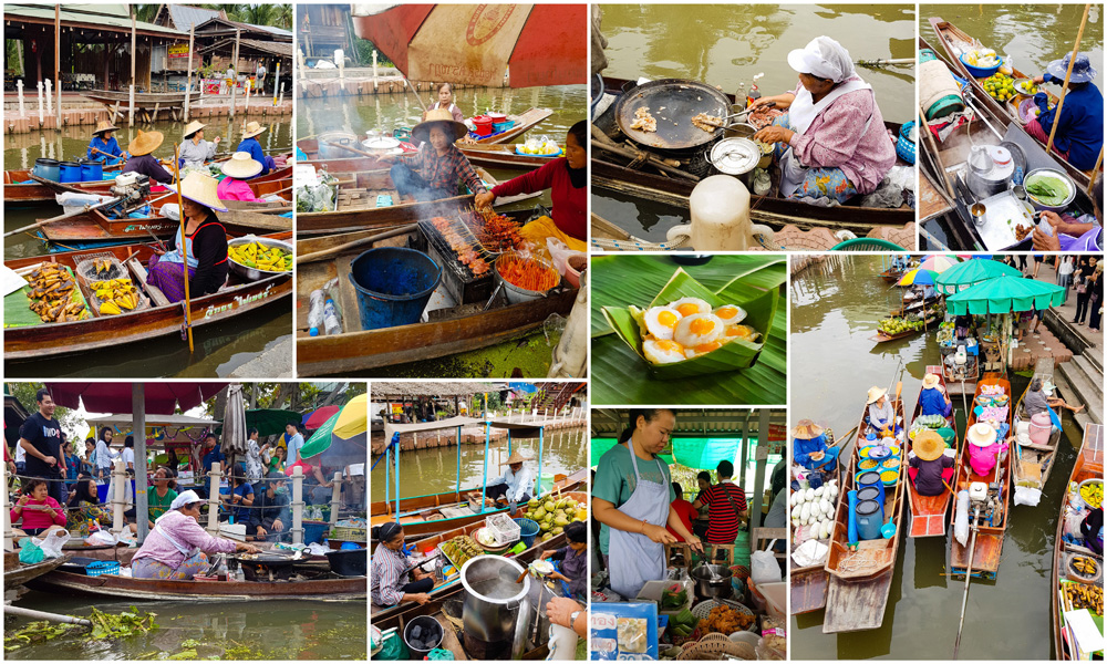 Produce vendors at Tha Kha Floating Market, near Bangkok, Thailand
