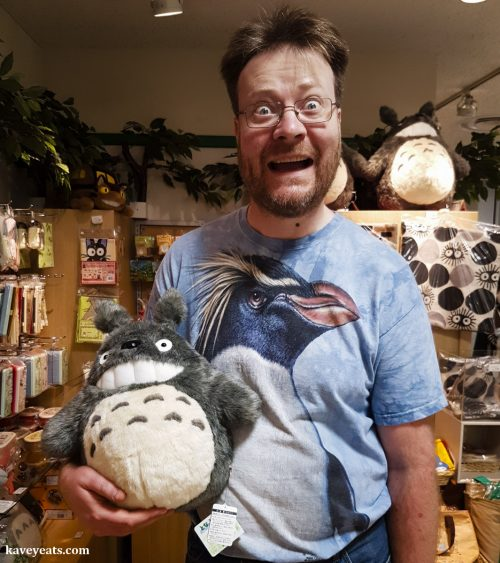 Man cuddling a Totoro soft toy - Ghibli merchandise (Best Souvenirs from Japan)