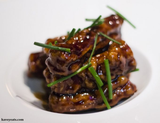 Sweet and sour aubergine strips at Xu London