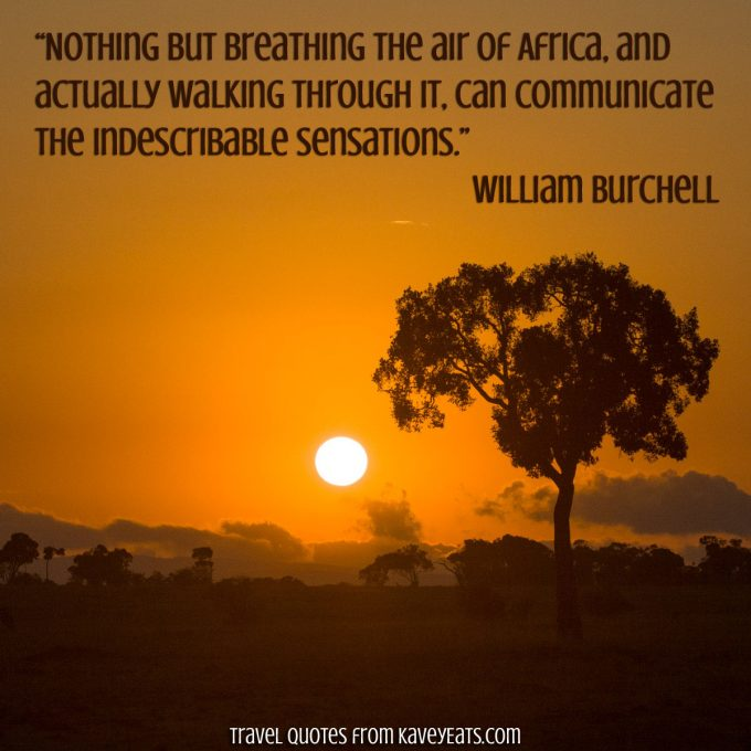 """Nothing but breathing the air of Africa, and actually walking through it, can communicate the indescribable sensations."" ~ William Burchell"