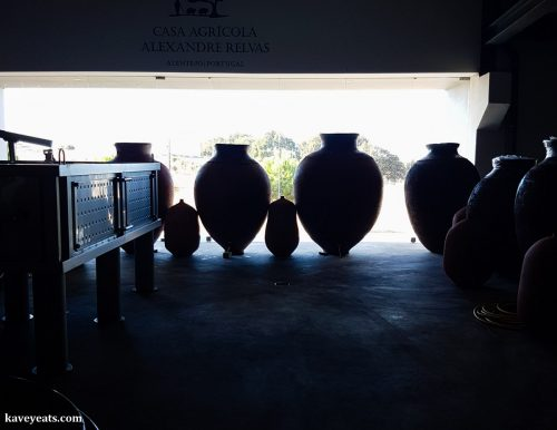 Traditional talhas (clay pots) used to make vinho de talha (clay pot wine) in Portugal