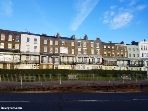 Panorama of Georgian terrace including Royal Harbour Hotel and The Empire Room restaurant in Ramsgate