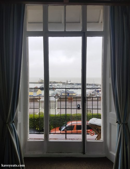 View out to Ramsgate Harbour from sea view hotel room in Royal Harbour Hotel