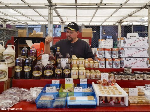 Farmers Market Stall of Canadian Maple Syrup Producer and Seller