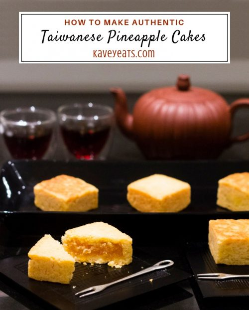 Taiwanese pineapple cakes in serving dish, individual ones on plates, and tea and tea pot behind