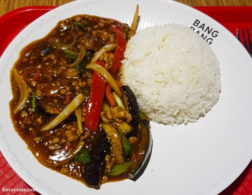 Pork and Aubergine from Longji restaurant in Bang Bang Oriental Food Court, Colindale, North West London