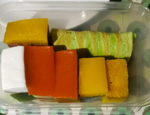 Traditional Kueh layered sweets from Hakka restaurant in Bang Bang Oriental Food Court, Colindale, North West London