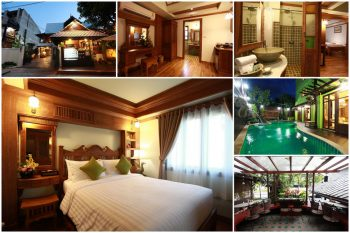 Rooms, pool and bathroom at Rich Lanna House, Chiang Mai, Thailand