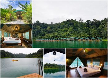 The Elephant Hills rainforest tented camp and the lake floating camp