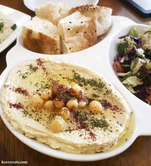 Hummus at Mezze Me Turkish Restaurant in Abergavenny, Monmouthshire, Wales