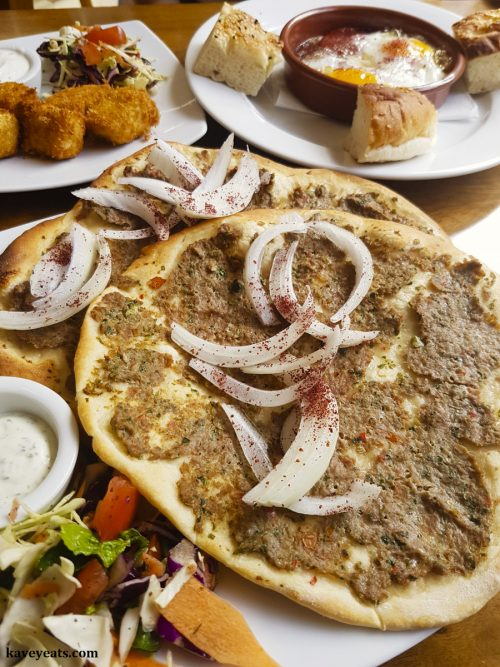 Lahmacun at Mezze Me Turkish Restaurant in Abergavenny, Monmouthshire, Wales