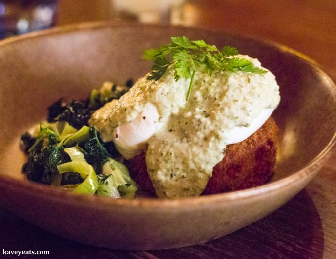 Salmon and smoked haddock fishcake, poached egg, greens, tartare sauce - The Ox, Bristol