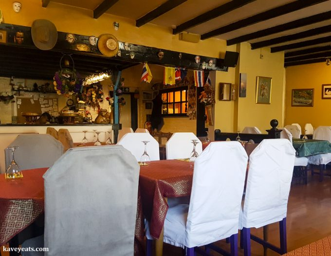 Interior of Boonta Thai Restaurant in Abergavenny, Wales