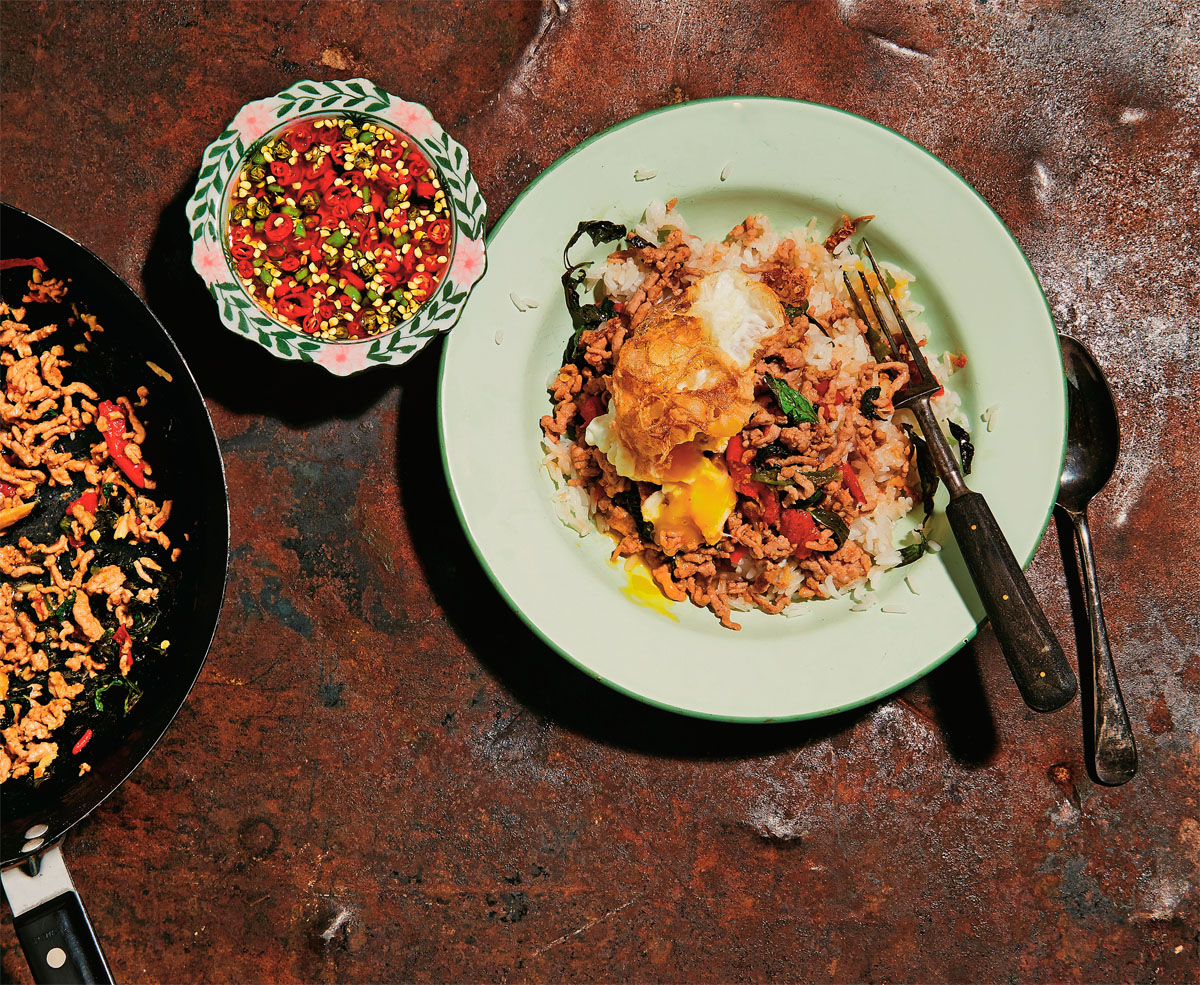 Pad Krapow Moo (Pork Stir-fried with Holy Basil) - a delicious Thai dish, recipe from Kay Plunkett-Hogge's cookbook, Baan: Recipes and Stories from my Thai Home