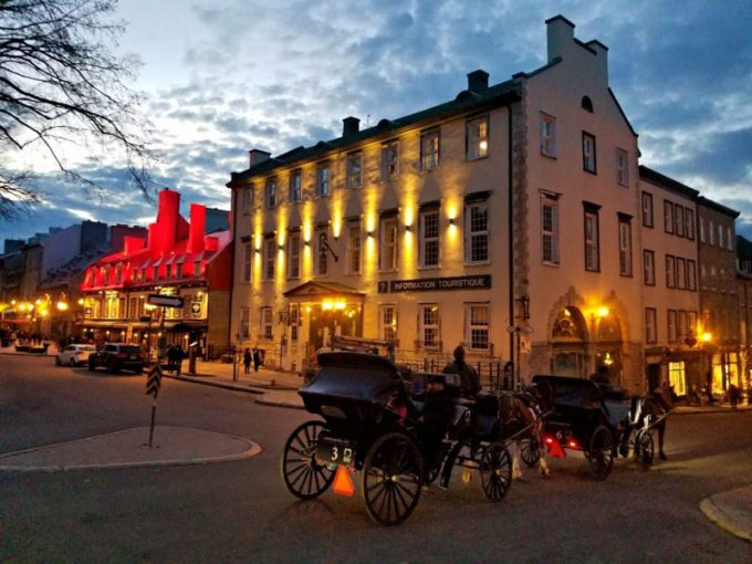Horse-drawn carriage in Quebec City of an evening