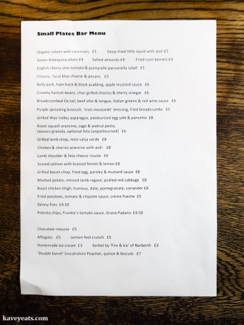 Small Plates Menu at The Hardwick