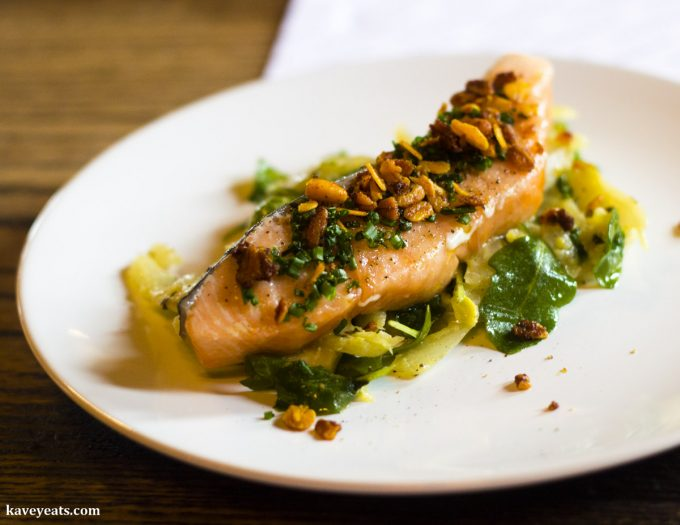 Seared salmon with braised fennel and lemon at The Hardwick