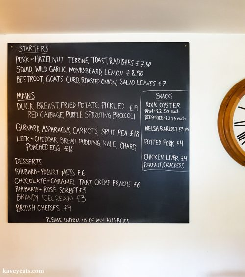 Daily menu on blackboard at The Black Bear Inn, a gastropub