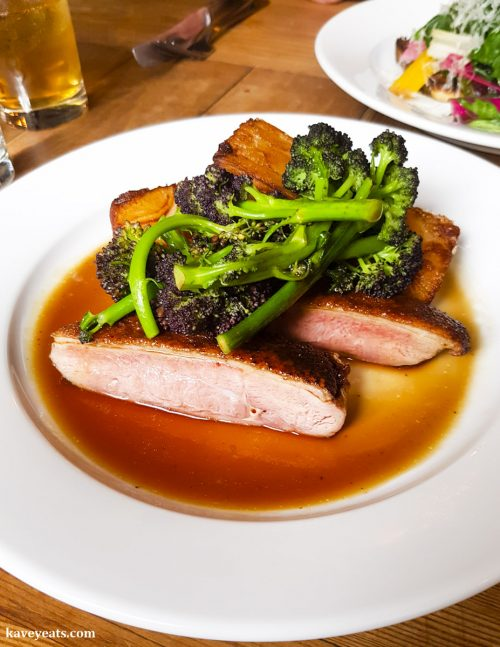 Duck breast, fried potato and purple sprouting broccoli