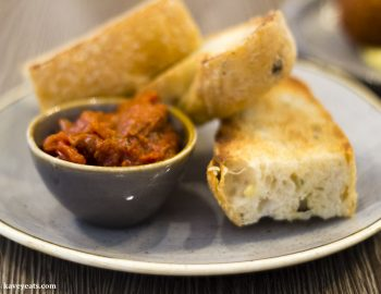 Toasted focaccia with roast tomato jam