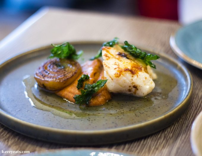 Cod, romesco, braised onion at The Gaff Restaurant in Abergavenny