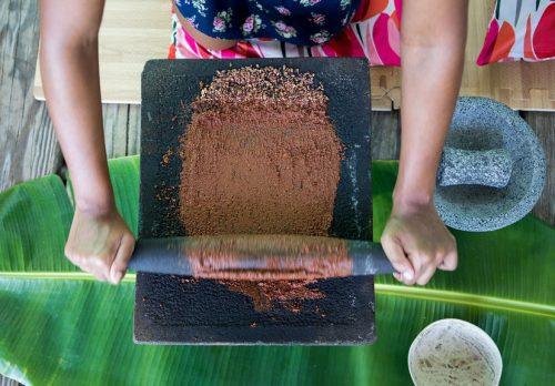 Making chocolate the traditional Mexican way at Grenada Chocolate Festival